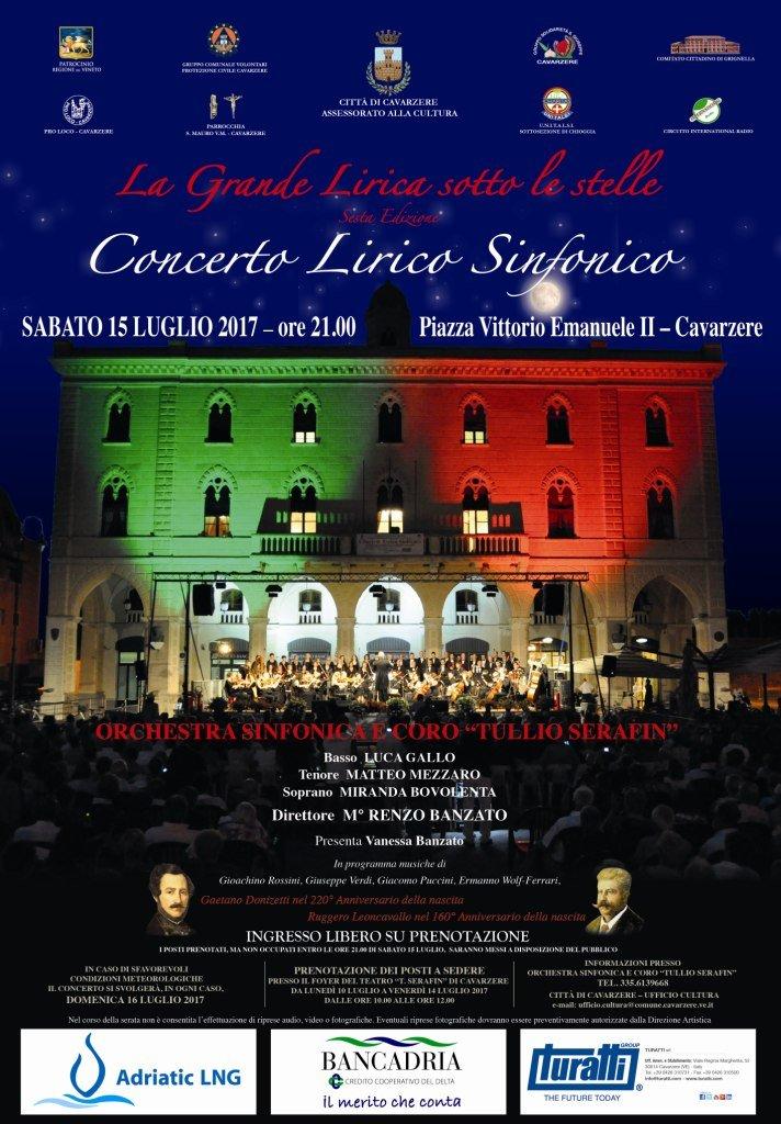 """""""La grande lirica sotto le stelle"""" a Cavarzere il 15 luglio 2017 - Locandina Concerto 15.07.2017"""