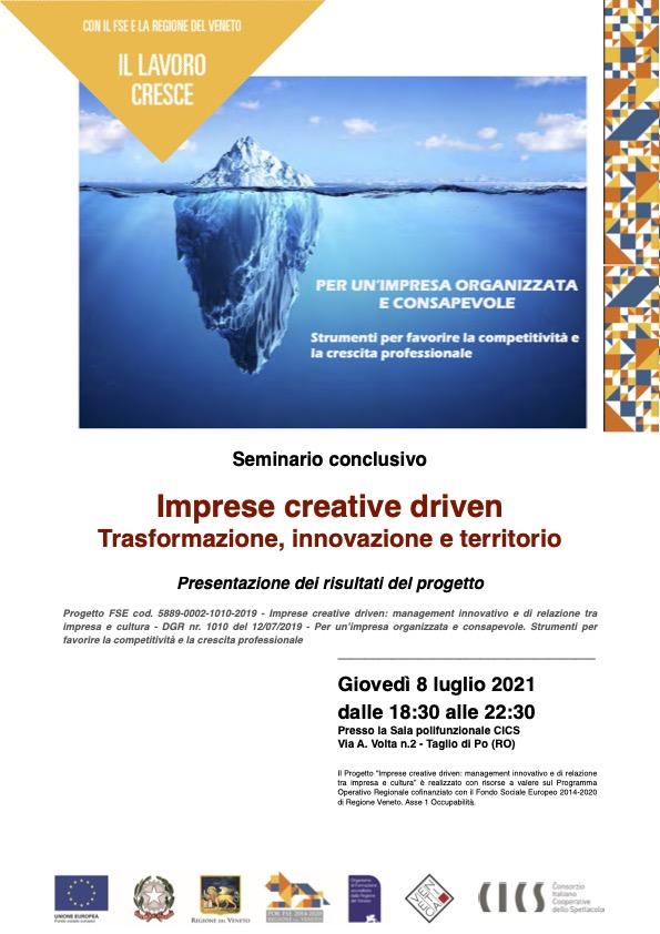 Seminario conclusivo - Imprese Creative Driven - 1.Locandina seminario cics 8.7.21