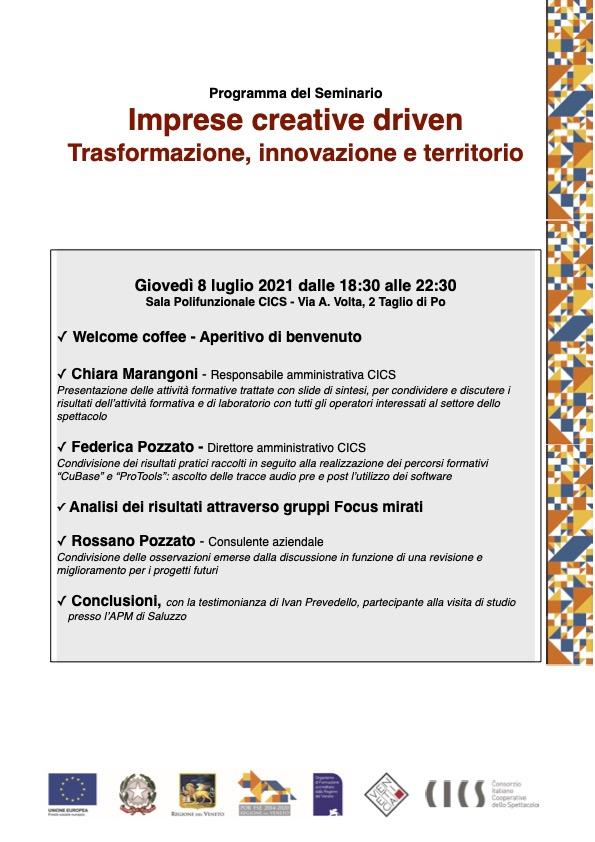 Seminario conclusivo - Imprese Creative Driven - 2.Locandina seminario cics 8.7.21